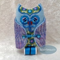 Owl Sewing Kit Pin Cushion in Blue and Lavender with scissors