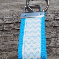 Teal/ Aqua  Chevron Mini Fob, Key Holder, Key Chain, Key Ring, Accessory