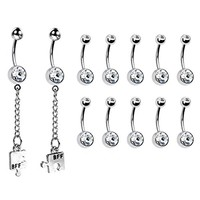 BodyJ4You 12PCS 14G Belly Button Ring Clear CZ Dangle Best Friend Navel Piercing Bar Jewelry Set