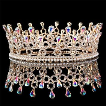 Cool Quality Luxury Bride tiara AB Crystal princess diadem for women wedding crowns and tiaras queen king headband hair jewelryAT_93_12