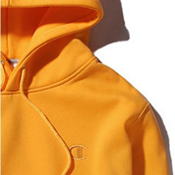 Champion autumn and winter small logo embroidered men and women hoodie hooded sweater coat Yellow