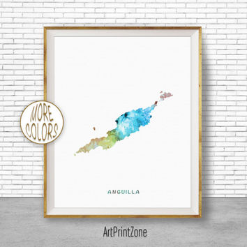 Anguilla Map Art, Anguilla Print, Office Art Print, Watercolor Map Print, Map Artwork, Office Decorations, Country Map, Art Print Zone