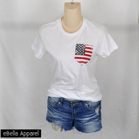 American Flag Fake Pocket - Women's White Short Sleeve, Graphic Print Tee