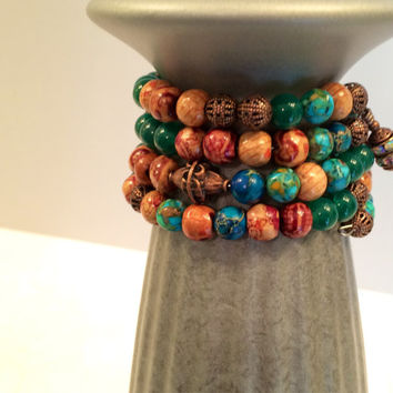 Wire-wrapped Boho Beaded Bracelet, Jade, Aqua, and Mint Jasper, Wood and Copper