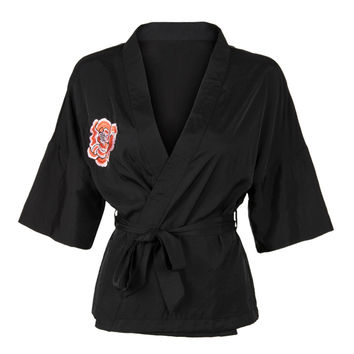 Black Embroidered Detail Half Sleeve Tie Waist Kimono