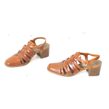 size 7.5 WOVEN platform sandals vintage 80s 90s CHUNKY heel caramel LEATHER huarache hipster slingback sandals