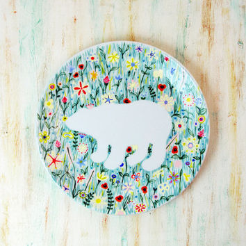 Hand painted porcelain plate - Polar bear in wildflowers