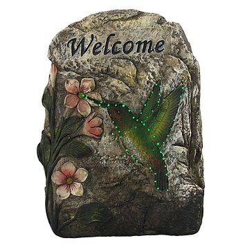 "9.5"" LED Lighted Solar Powered ""Welcome"" Hummingbird Outdoor Garden Stone"