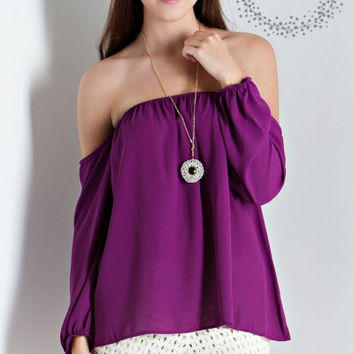 Solid off the Shoulder 3/4 Sleeve Top (Magenta)