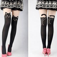 Skin under black cat tail stitching on Spring stockings velvet leggings pantyhose knee thigh false