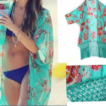 Women's Tassel Bikini Cover up Beach Cardigan Shirt Top Chiffon shawl one size = 1704209156