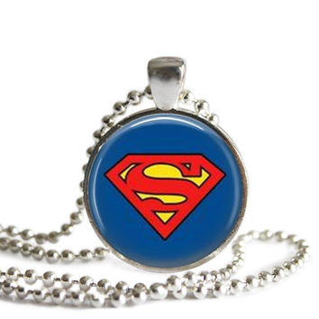 Superman Silver Plated Picture Pendant Necklace