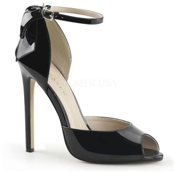 Pleaser Female 5 Inch Heel Peep Toe Ankle Strap D'orsay Pump With Back Bow SEXY16