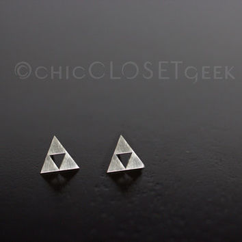 Triforce Stud Earrings - Sterling Silver Zelda jewelry, The Legend of Zelda Earrings, Retro Game, Video Game jewelry, Geekery,  EL026