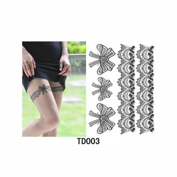 Water Transfer Sexy Lace Stocking Fake Flash Tattoo for Girl Women Waterproof Temporary Tattoo Sticker on Leg Halloween Decor
