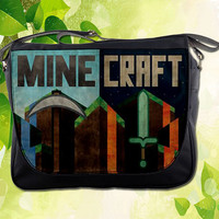 "Hot New Messenger Bag Minecraft Creeper Block Game Design Sling School Bag Size 14"" Campus Bag Hot Gift"