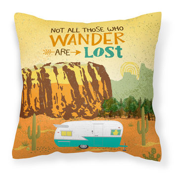 Retro Camper Camping Wander Fabric Decorative Pillow VHA3025PW1414