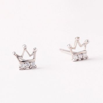 925 sterling silver  crown princess earrings