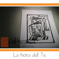 La hora del Te - Handmade linocut print on A5, siesta linoprint, bear and fox in teahouse