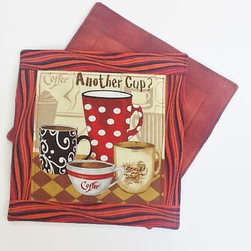 Mug Rugs - Hot Pads - Quilted Coffee Coasters - Handmade Mini Quilts - Mug Mats - Computer Mouse Mats - Whimsical Kitchen Accessories