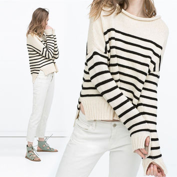 Autumn Stripes Sweater [6351445700]