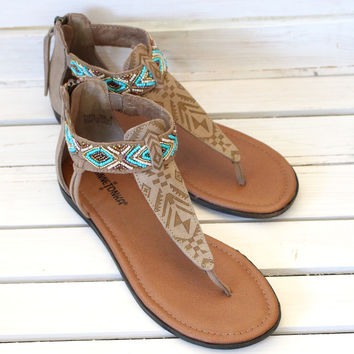 Minnetonka: Antigua Beaded Sandals {Taupe}