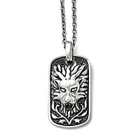 Stainless Steel Antiqued Lion Dog Tag Men's Necklace