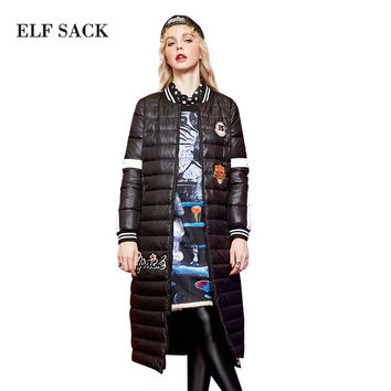 Elf SACK w winter female badge applique embroidery baseball ultra long down coat female