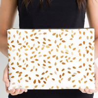 Carry-All Pouch or Laptop Sleeve -Faux Gold, Leaves, Canvas-like fabric, Travel, Pocket, Custom, Pattern, Cosmetic, Make-up, White, Abstract