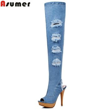 ASUMER Large size 34-41 new high quality denim over the knee boots women high heels hole denim boots sexy thigh high botas