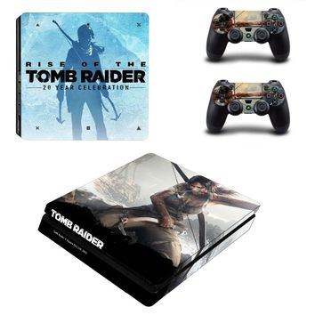 Tomb Raider PS4 Slim Skin Sticker For Sony PS4 PlayStation 4 Slim Console and 2 Controllers Stickers