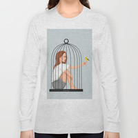 A bird and I had a conversation about freedom Long Sleeve T-shirt by marylobs