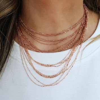 I've Got Layers Necklace: Rose Gold