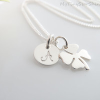 Four Leaf Clover Necklace Shamrock Necklace Sterling silver Initial Necklace Personalized Initial Necklace Personalized gifts