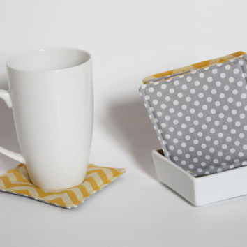 Fabric Coasters, Set of 4, Yellow Chevron Pattern, Light Grey Polka Dots, Reversible, Square, Cute gift
