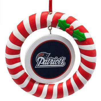 New England Patriots - Candy Cane Wreath Ornament