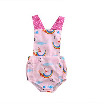 Sweet Baby Boys Girls rainbow Romper Stretch Jumpsuit Outfit Clothes Set