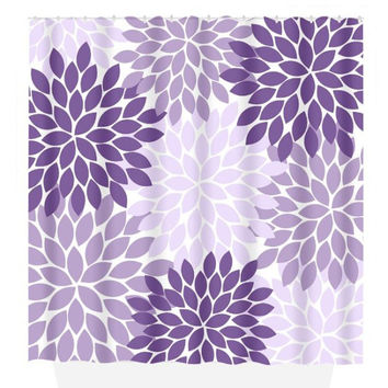Flower SHOWER CURTAIN, Flower Burst Petals, Purple Lavender, Girl MONOGRAM Personalized, Floral Bathroom Decor, Beach Towel, Plush Bath Mat