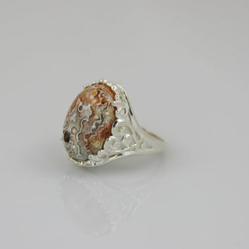Crazy Lace Agate Cabochon Ring in Sterling Silver -- Product R004