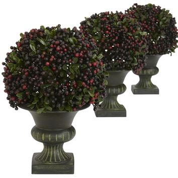 SheilaShrubs.com: Pepper Berry Ball Topiary (Set of 3) 4126 by Nearly Natural : Artificial Flowers & Plants
