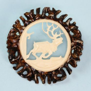 Carved Antler Pin Brooch Caribou in Winter Scene Vintage