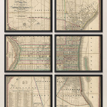 Antique Map of Philadelphia (1830) - Set of 6 Prints - Archival Reproduction