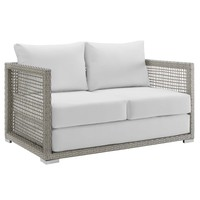 Aura Outdoor Patio Wicker Rattan Loveseat Gray White EEI-2924-GRY-WHI