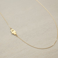 Dainty Hamsa Necklace / Simple Necklace with Hamsa / Centered Hand Necklace, Evil Eye, Delicate Thin Gold Necklace LN308