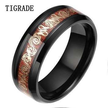 TIGRADE 8MM Gold Dragon Titanium Ring Men Black Edges Wood Inlay Wedding Band Fashion Finger Jewelry Engagement Rings For Women