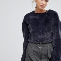 Lost Ink Long Sleeve Top In Soft Faux Fur at asos.com