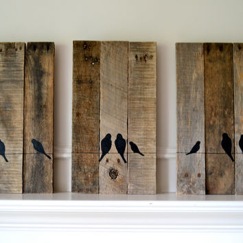 Reclaimed wood art set: Three panel birds on a wire silhouette set