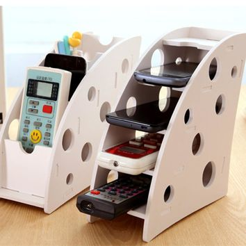 DIY wood 4 slot desktop storage box for remote control VCR Step Mobile Phone Stationery organizerg for home decoration