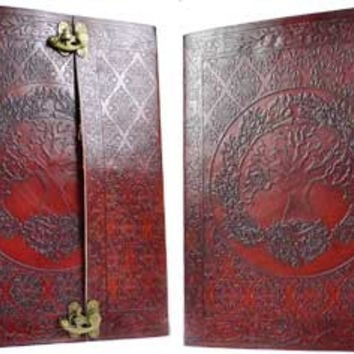 Tree of Life Leather Covered Journal with Latch 10 inches by 13 inches