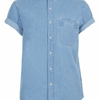 Blue Denim Short Sleeve Stand Collar ShIrt - 20% off Short Sleeve Shirts - Offers